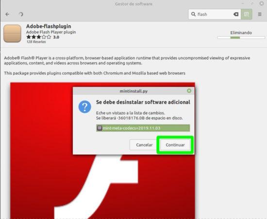 Ir al Gestor de Software de Linux Mint para desintalar Adobe Flash
