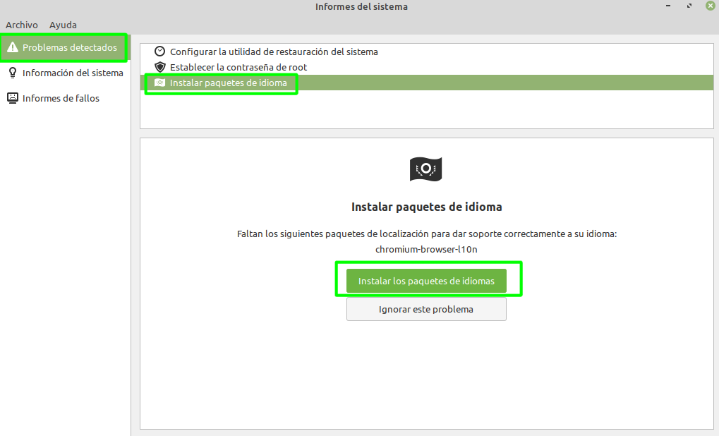 Añadiendo paquetes de idioma faltantes en Linux Mint con Mint Report (Informes del sistema)