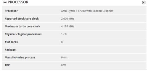 La APU Ryzen 7 4700U contará con una CPU de 8 núcleos a 4,2 GHz 35