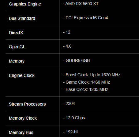 Características de la Radeon RX 5600 XT de ASRock