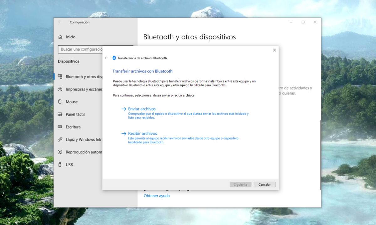 Transferir archivos Bluetooth