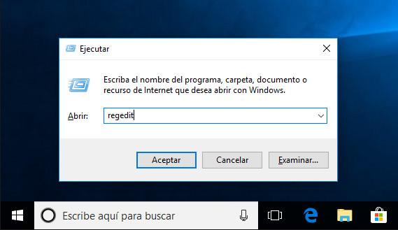 Abrir el editor de registro de Windows 10 con Ejecutar