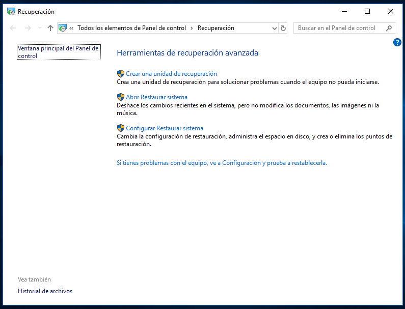Crear una unidad de recuperación de Windows 10