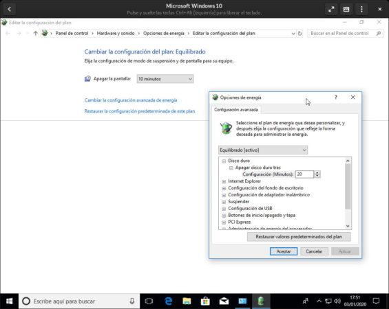 Configuración de la energía en Windows 10