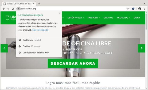 Comprobar si un sitio web usa HTTPS en el navegador web