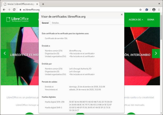 Comprobar el certificado de un sitio web HTTPS a través del navegador web