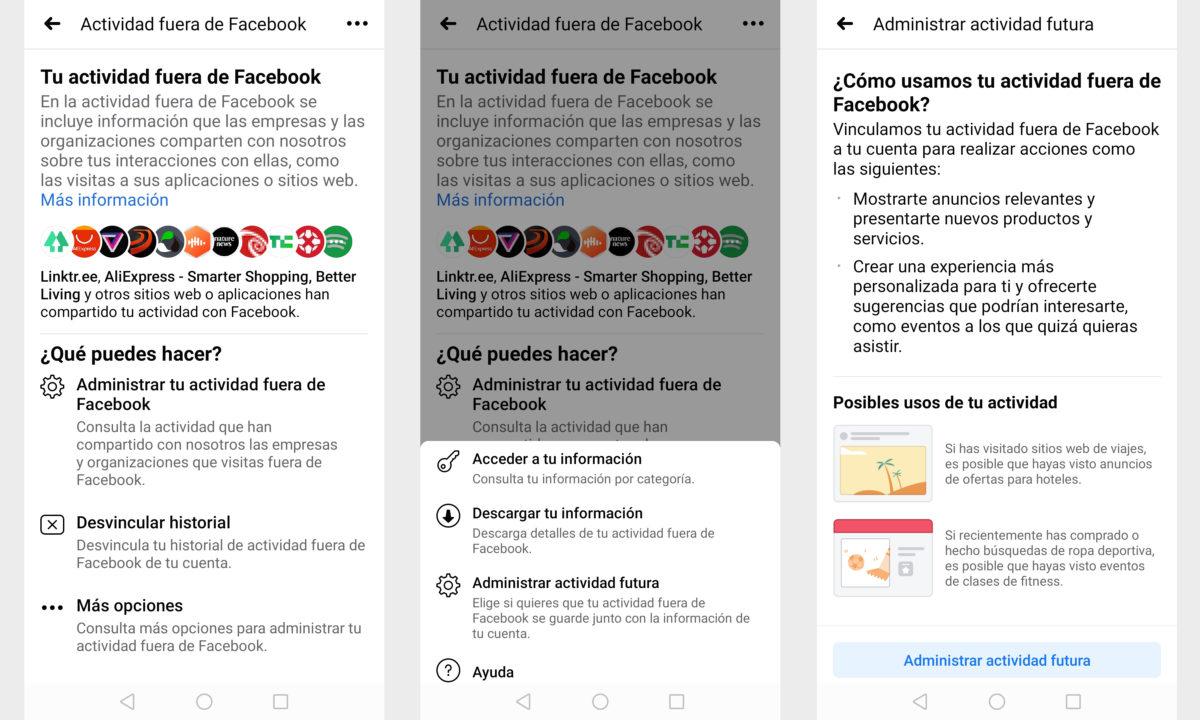 Actividad Fuera Facebook privacidad