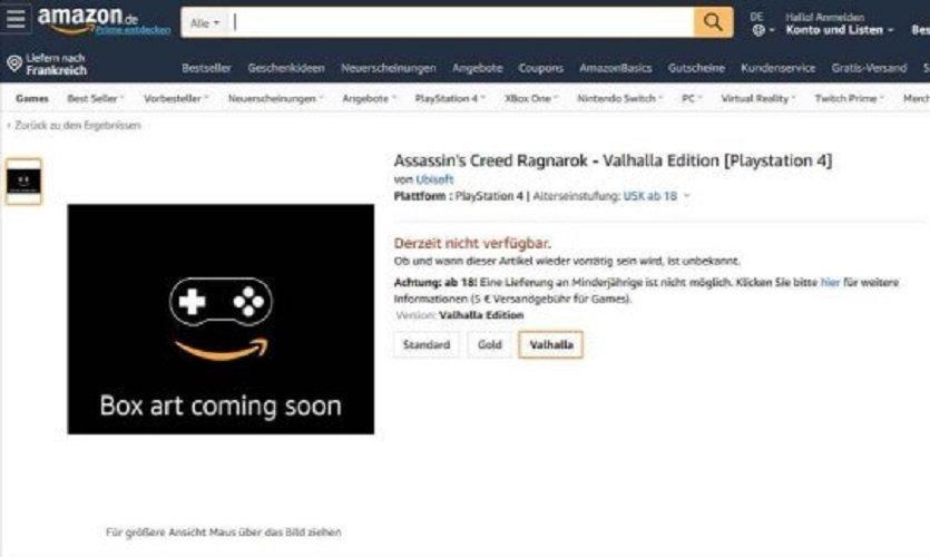 Amazon Alemania filtra por error Assassin's Creed Ragnarok - Valhalla