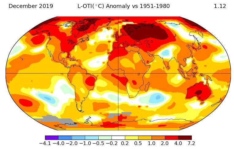 Mapa del aumento de las temperaturas en la Tierra según la NASA