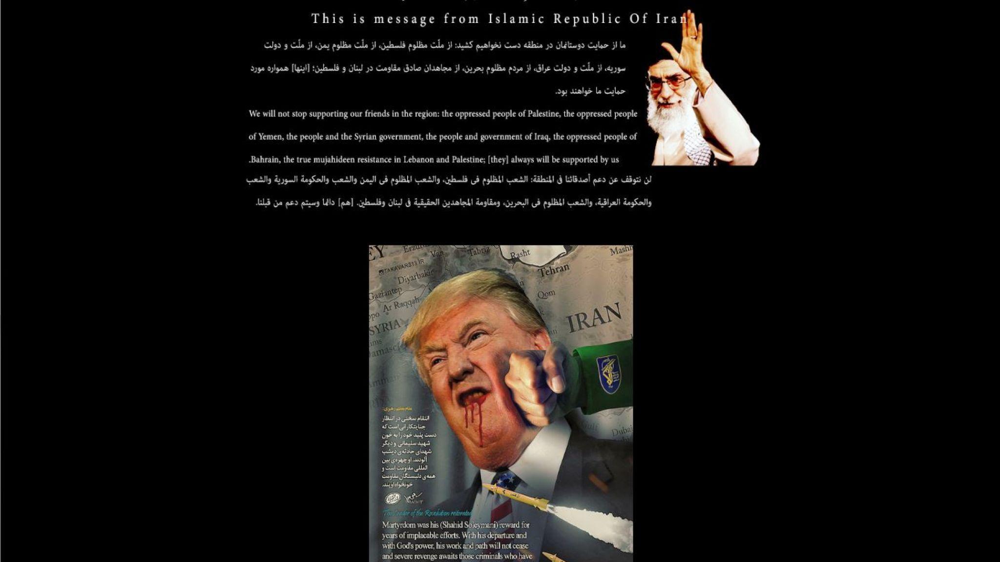 Mensaje del presunto ataque hacker del Gobierno de Irán contra Estados Unidos