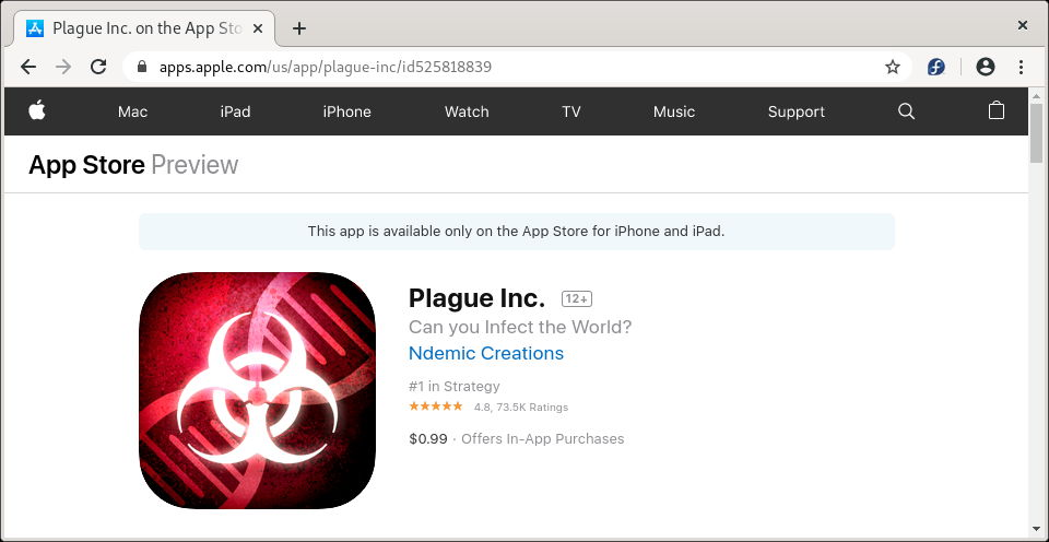 Plague Inc. en la App Store de Apple