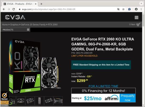 Variante Ultra de la EVGA RTX 2060 KO