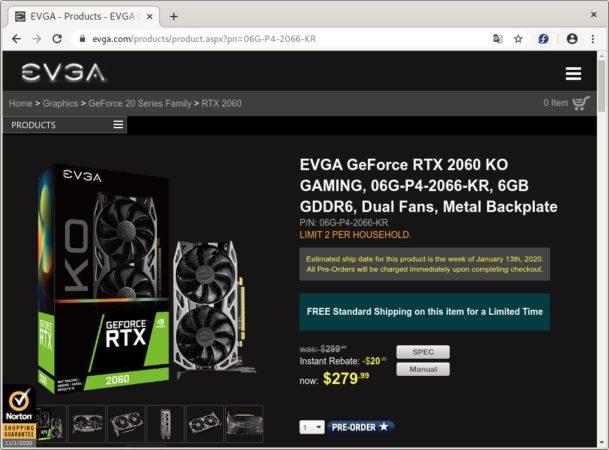 Variante estándar de la EVGA RTX 2060 KO