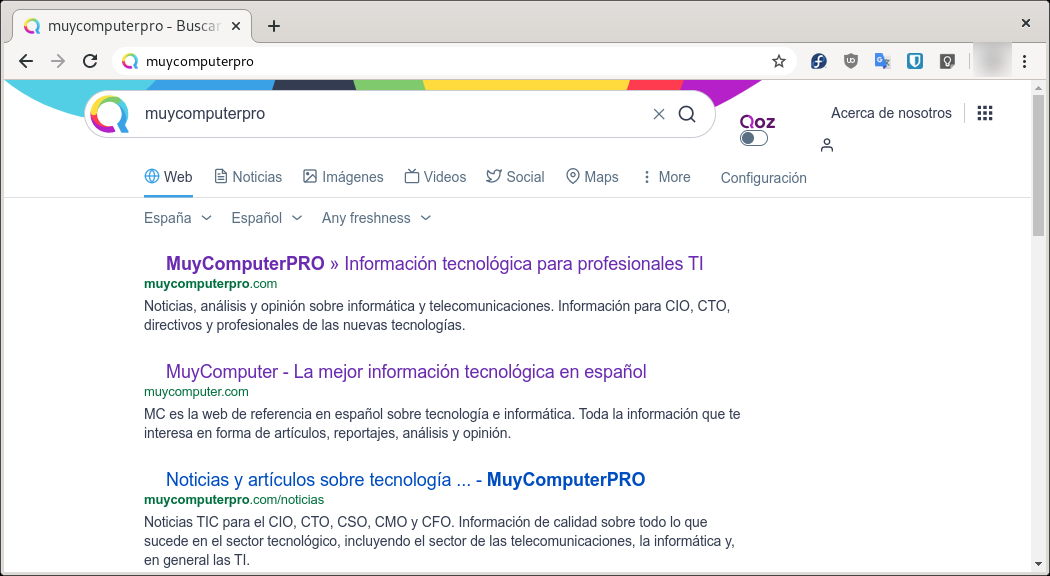 Query in Omnibox usando en Google Chrome con Qwant
