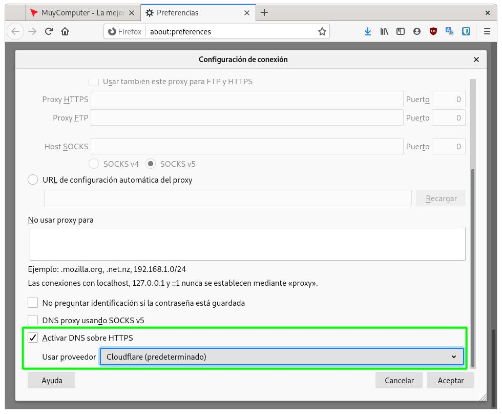 Activar DNS over HTTPS en Firefox