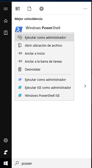 Iniciar PowerShell como administrador