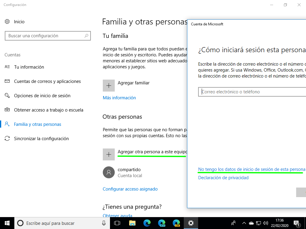 Crear un usuario local en Windows 10