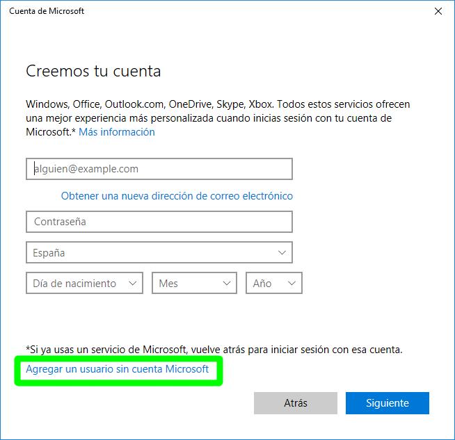 Crear un usuario local en Windows 10