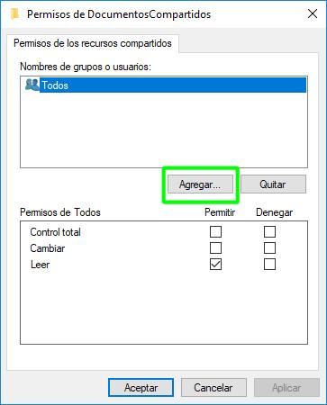 Añadir usuario al recurso compartido