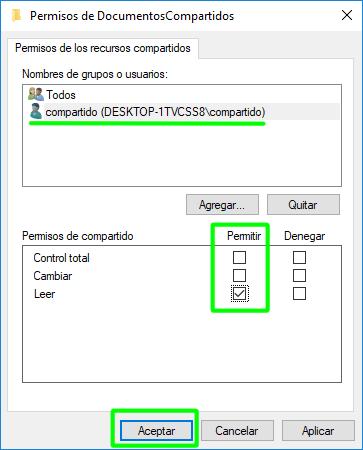 Permisos del usuario creado sobre el recurso compartido a través de SMB o CIFS