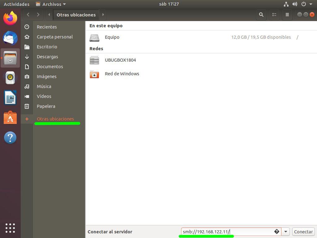 Accediendo al recurso compartido desde Windows 10 a través de Ubuntu