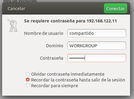 Accediendo al recurso compartido desde Ubuntu