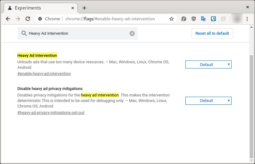 Activando Heavy ad intervention en Google Chrome para bloquear los anuncios que consumen muchos recursos