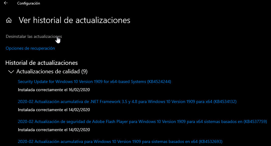 actualización fallida de Windows 10