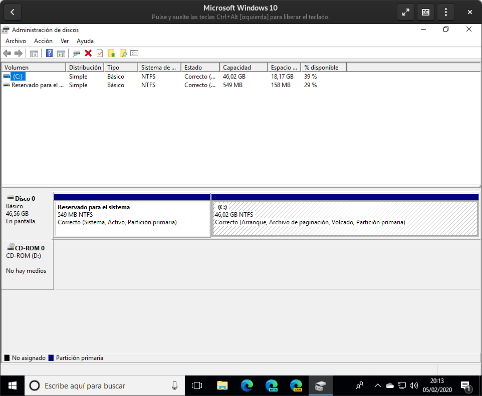Windows Disk Manager to view disk partitions