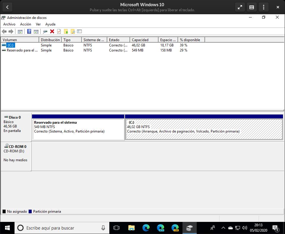 Administrador de discos de Windows para ver las particiones de los discos