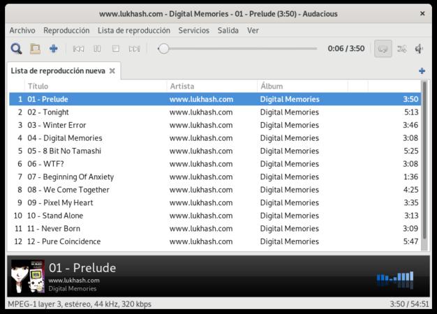 Audacious para Linux con interfaz GTK