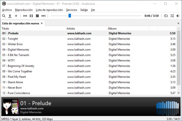 Audacious para Windows con interfaz GTK