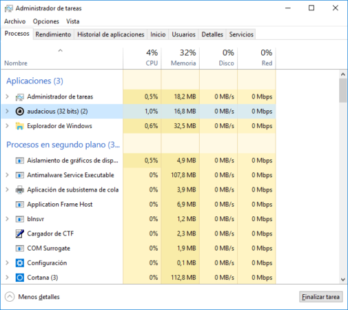 Consumo de Audacious para Windows