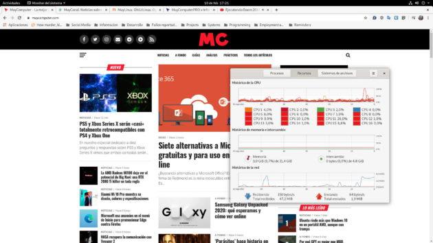 Consumo de RAM de Linux tras ejecutar Google Chrome