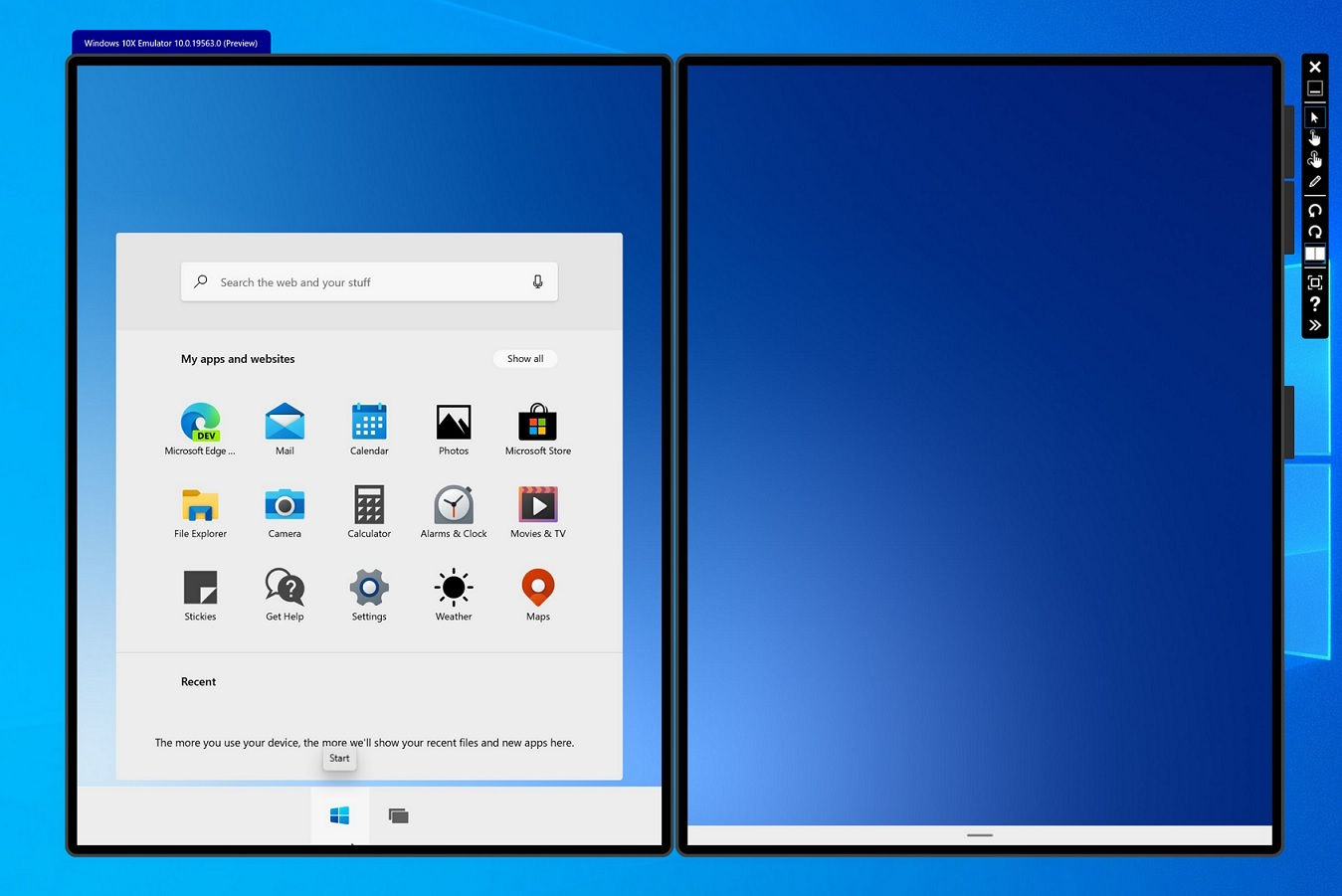 Menú de inicio creado por Microsoft para Windows 10X