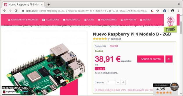 Raspberry Pi 4 con 2GB de RAM en Kubii