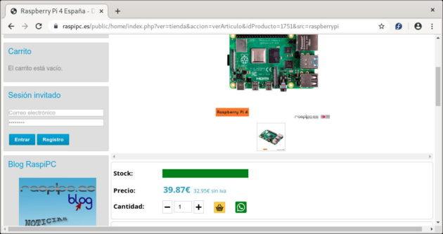 Raspberry Pi 4 con 2GB de RAM en raspic.es