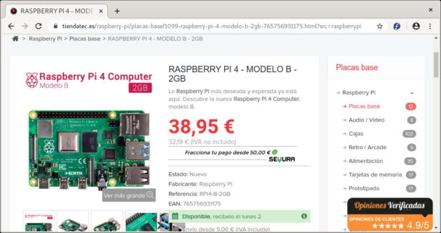 Raspberry Pi 4 con 2GB de RAM en tiendatec