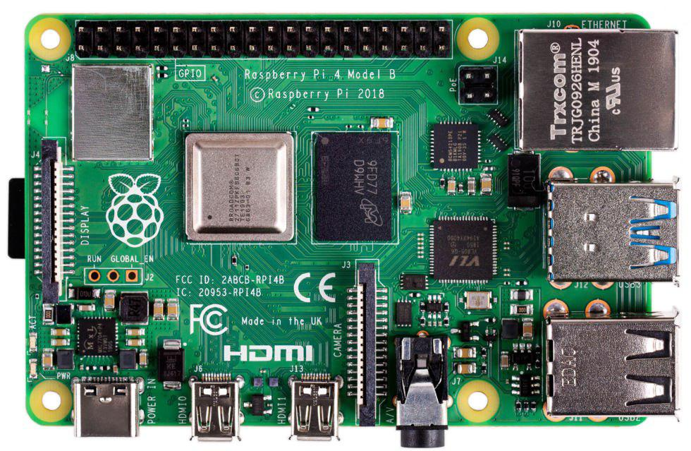 Raspberry Pi 4 parte superior