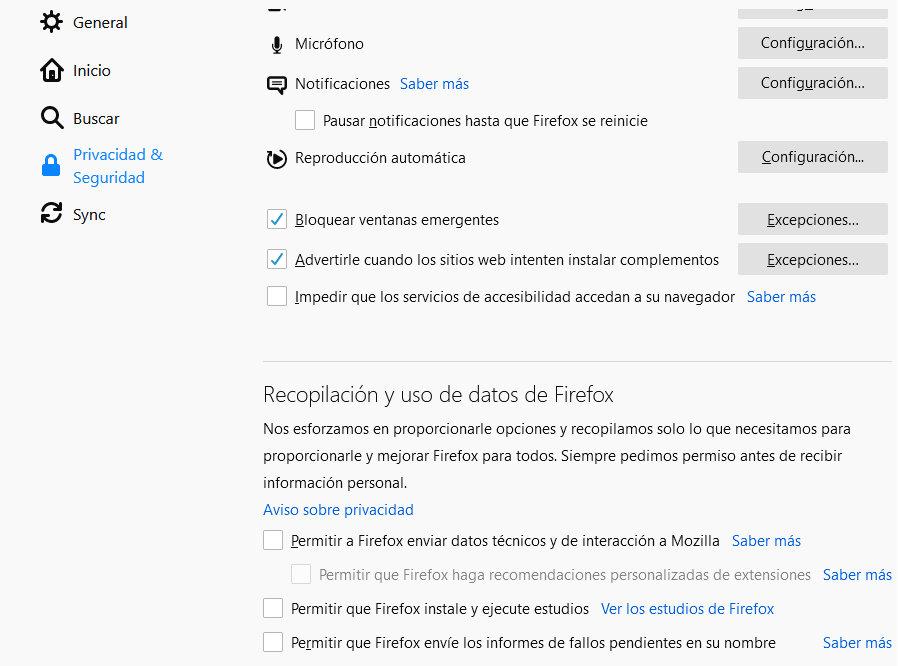 telemetría de Firefox