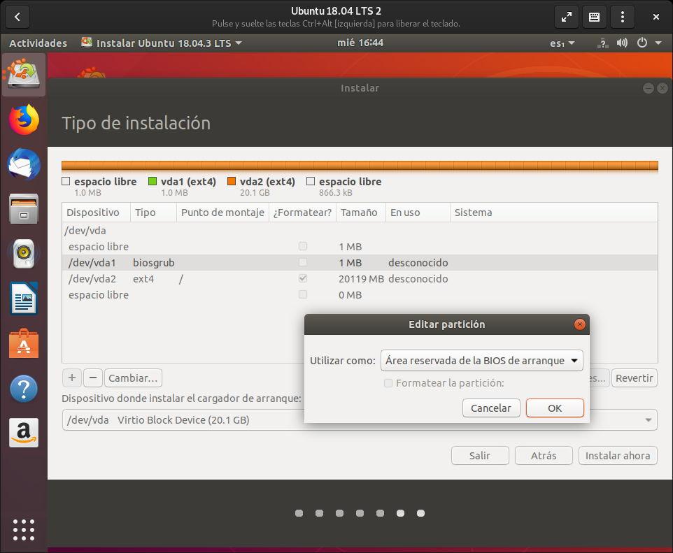 Usando una tabla de particiones GPT sobre BIOS en Ubuntu