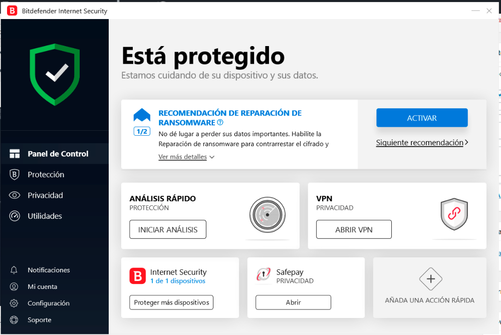 Bitdefender Internet Security 2020 asegura tu protección en Windows 31