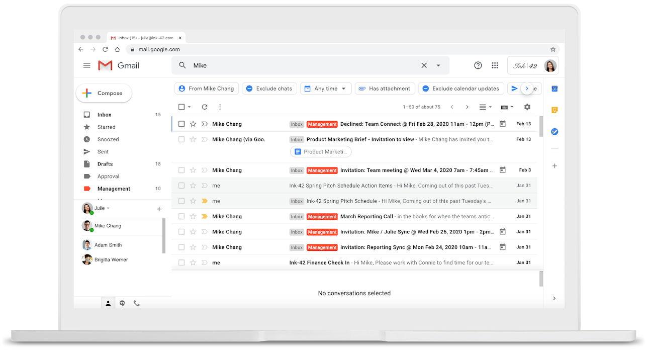 search chips o fichas de búsqueda, la nueva característica para ayudar en la búsqueda de correos electrónicos en Gmail