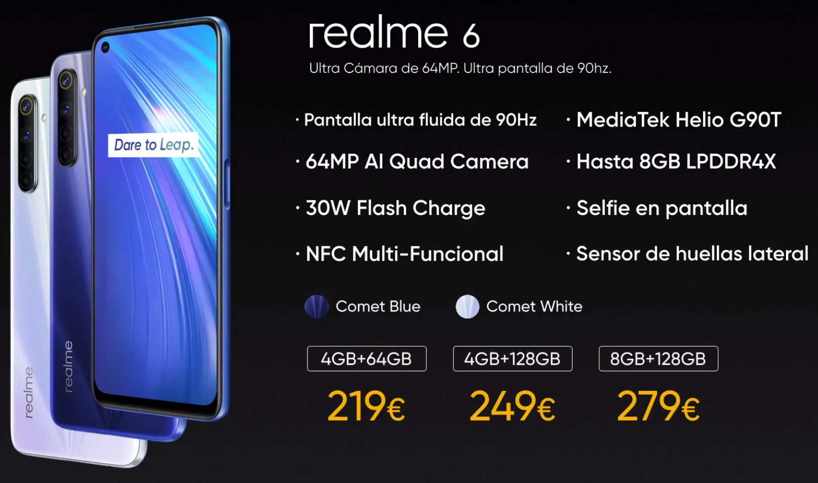 Realme presenta en España sus nuevos smartphones series 6 y el gama de entrada C3 40