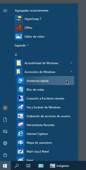 asistencia rápida de Windows 10