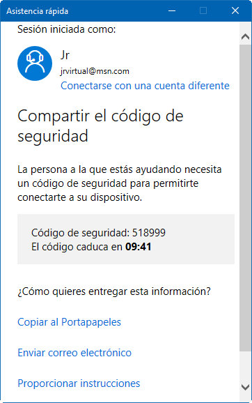 asistencia rápida de Windows 10
