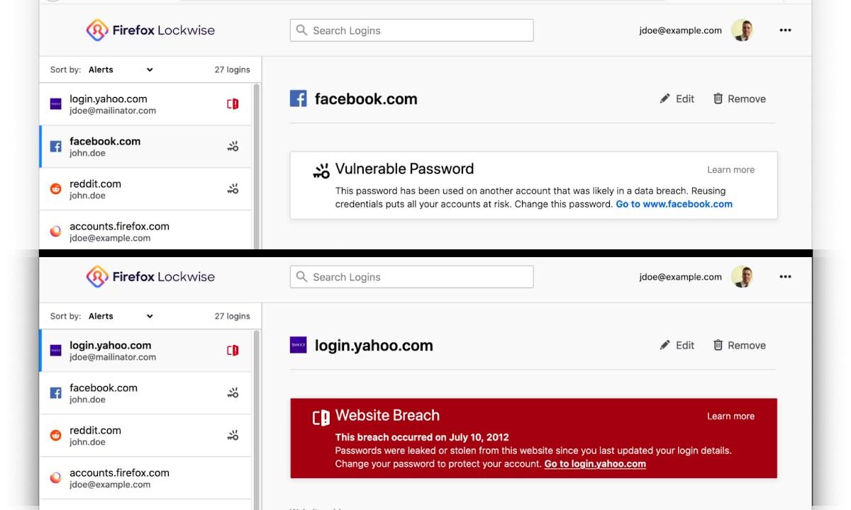 Firefox 76 - alertas de Lockwise