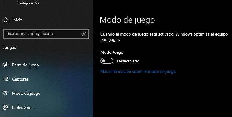 modo de juego de Windows 10