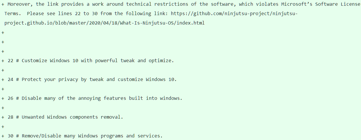 Microsoft denuncia a Ninjutsu OS: no puedes desactivar características de Windows 10 32
