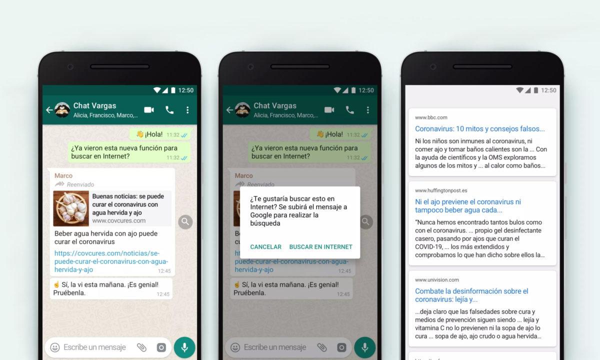 WhatsApp mensajes reenviados buscar internet google fake news